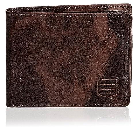 Suvelle Men's Slim Leather Bifold Wallet, Removable Flip up ID