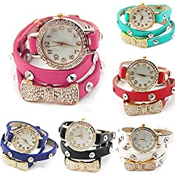 Imixcity Fashion Rhinestone Synthetic Leather Sling Chain Quartz Wrist Watch Man Woman