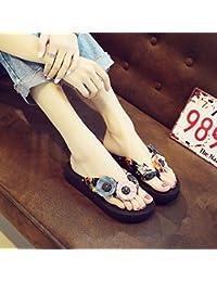 YMFIE Sandali piatti da donna Summer Fashion Retro Simple Comfort Sandali neri antiscivolo, 37 EU