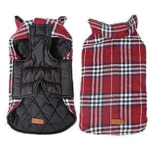Kimfoxes - Cappottino per cani, giacca per cani, maglione caldo per l'inverno per cani piccoli e grandi, reversibile, plaid (XS–3XL)