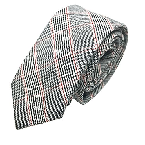 GOOD.designs schmale Herren-Krawatte aus Baumwolle mit Karomuster in Grau/Rot - handgenäht, Slim-Fit-Line Tie