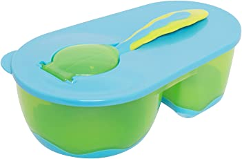 BAYBEE Baby Feeding Bowl with Spoon, (Green/Blue)