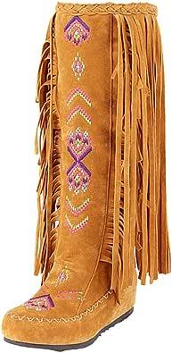 Bottines Indiennes Femme Bottes Western Escarpins Vintage, Shoes Imprimé Mode Escarpins Ultra Confort Bottes Rouge Talon Interieur 3cm Chaussure Pas Cher