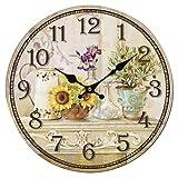 SODIAL(R) Vintage Antique Style 34cm Wall Clock Home Bedroom Retro Kitchen Quartz (Pattern:sunflower)