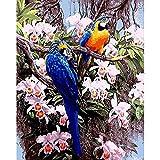 RYUANYUAN Hand Ölgemälde Blumen Papagei Dekorative Leinen Malerei Spiegel Wandkunst Für Wohnzimmer 16x20 inch (40x50 cm) Rahmenlos