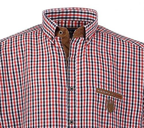1129 BlueWhiteBrown Herrenhemd kurz Arm Übergröße Lavecchia Gr 37 XL rot/ weiß/navy