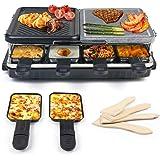 Raclette 8 Personnes, Appareil a Raclette avec Pierre Naturelle et Plaque en Fonte Raclette Multifonction 2-IN-1 pour 8 perso