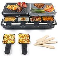 Raclette 8 Personnes, Appareil a Raclette avec Pierre Naturelle et Plaque en Fonte Raclette Multifonction 2-IN-1 pour 8…