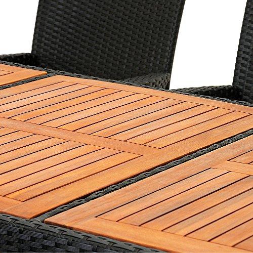 Polyrattan Sitzgruppe 8+1 Tisch aus Akazienholz Gartenmöbel Lounge Gartenset Sitzgarnitur Rattan - 7