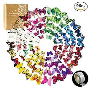 JUSLIN 96pz a 8 colori 3D farfalla smontabili autoadesivi murali e decorazione della casa, c'è la colla per ogni pezzo