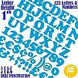 Buchstaben & Zahlen Stück 122PCS X 2,5cm (2,5cm) Selbstklebendes = Schriftart Cooper Aufkleber gratis Interpunktion wasserfest groß Schriftzug sign-writing Wasser Proof jedes Projekt 25 mm hellblau