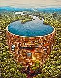 ODSAN Shelves Of Books(a.k.a. Bibliotama) - By Jacek Yerka - Leinwanddrucke 16x20 Inch Ungerahmt