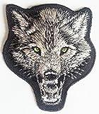 """Aufnäher Patches für Jacken Jeans Kleidung Bügelbilder Flicken Stoff Patch Kleider Aufnäher Patches Aufbügler zum Aufbügeln """"7,6 x 7 cm Tier Aufnäher Wolf """""""