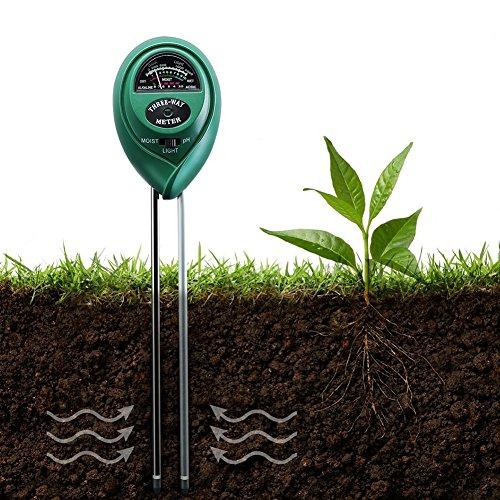 pittospwer 3-in-1-Boden-Test-Set, PH, leicht, Gartenwerkzeug, pH-Meter, für Blumenpflanzen