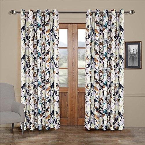 Tab-top-panel (MICHELE HOME FASHION 25Größen erhältlich modernes Print Artistic Ölgemälde Stil Abstract Floral Unterstoff Fenster Behandlung Vorhänge und Vorhänge Panels, Textil, Tab Top, 1*(42