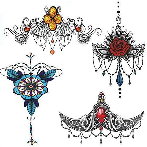Preisvergleich Produktbild NALEDI 4 Blätter Kunst Tattoo Transfer Aufkleber Mode wasserdicht Brusttattoos Erstellen Sie Ihre eigene temporäre Kunst personalisierte Tattoos Aufkleber langlebig