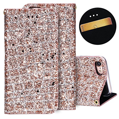 Herbests Hülle für iPhone 7 4.7,iPhone 8 4.7 Lederhülle, Glitzer Bling Strass Diamant Premium Schutzhülle PU Leder Flip Case Handyhülle Silikonhülle für iPhone 7/8 4.7 mit Standfunktion Magne (Iphone Louis Vuitton Handy Fall 4)