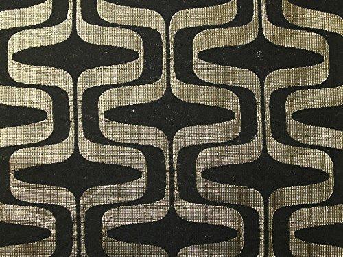 Geometrische Gewebe der Metallic Brokat Kleid Schwarz & Gold–Meterware