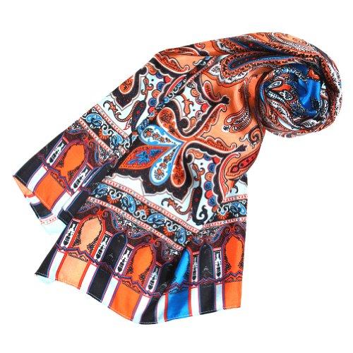 Lorenzo Cana Luxus Seidenschal aufwändig bedruckt Paisley Muster Schal 100% Seide 50 x 165 cm harmonische Farben Damentuch Schaltuch 89071