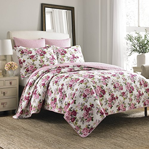 Laura Ashley Lidia Algodón Edredón Set Algodón Rosa Fullqueen