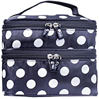 ZWOOS Cosmetic Bag Double Layer Makeup Purse Polka Dot Travel Organizer Handbags With Mirror (black and white)