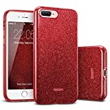 iPhone 8 Plus Case, iPhone 7 Plus Case, ESR Luxury Glitter Sparkle Bling Designer Case Slim Fit Shockproof Shining Fashion Style [Supports Wireless Charging] for iPhone 7 Plus (2016) / iPhone 8 Plus (2017) (Red)