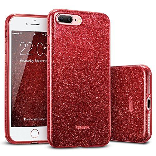 ESR iPhone 8 Plus Hülle, iPhone 7 Plus Hülle, Luxus Glitzer Bling [Glänzende Mode][Ultra Dünn] Designer Schutzhülle für Apple iPhone 8/7 Plus 5.5 Zoll 2017 Freigegeben. (Rot)