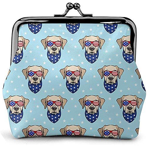 Labrador Retriever Blue Amerikanische Flagge Vintage Pouch Girl Kiss-Lock Portemonnaie Geldbörsen Schnalle Leder Geldbörsen -
