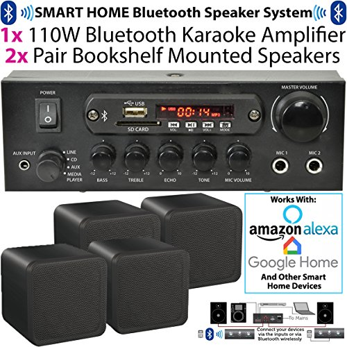 110 W kabellos/Bluetooth Mini-Verstärker & 4 x 80 W schwarz Bücherregal Lautsprecher – Home, Café, Bar, Restaurant Kompaktes Surround Sound HiFi-Set – kompatibel mit AMAZON Echo - Subwoofer Kabel Abs