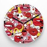Reloj de pared 30 cm con ilustración estampado sticker bomb labios