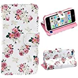 Malloom® Brand New Cute Stand Flip PU Leather Cover Case For iPhone 5C (Floral Jacquard)