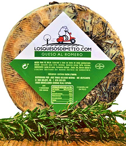 Queso de oveja al romero gourmet con caja de madera premium (español, curado, ideal con vino, queso entero de 2kg), de Losquesosdemitio