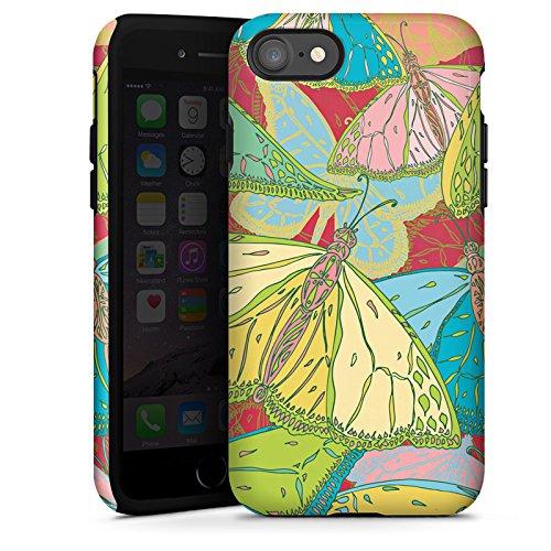 Apple iPhone X Silikon Hülle Case Schutzhülle Schmetterling Muster blumen Tough Case glänzend