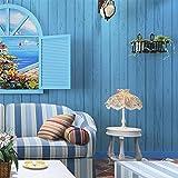 Holz Muster Vliesstoffe Nostalgic Schlafzimmer Wohnzimmer Küche TV Hintergrund Gestreift Tapete 10m Rolle (Blau)