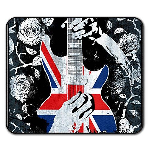 Bass Gitarre Rose Flagge Vereinigtes Königreich Mouse Mat Pad, Schwarz Rutschfeste Unterlage - Glatte Oberfläche, verbessertes Tracking, Gummibasis von Wellcoda (Gitarre Flagge)
