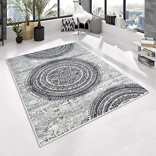 Teppich Boss Maori - Alfombra de Pelo Corto, diseño de Mandala, Crema y Gris, 200 x 290 cm