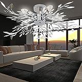 MIA Light Blätter Deckenleuchte Ø710mm| Floral - Florentiner | Chrom | Blätterlampe Deckenlampe