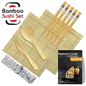 STARRY Sushi Set, 9 Teile – Sushi Maker Set Für Anfänger, Sushi Set zum Selber Machen Für Sushi Set Geschirr (2 Sushi Matte Bambus+1 Reisstreuer+1 Paddy Paddel+5 Stäbchen+1 Detaillierte Anweisungen)