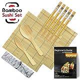 STARRY Sushi Set, 9 Teile – Sushi Maker Set Für Anfänger, Sushi Set zum Selber Machen Für Sushi Set Geschirr (2 Sushi Matte Bambus+1 Reisstreuer+1...