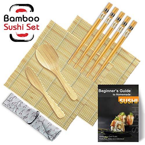 DYFFLE Sushi Set, 10 Teile – Sushi Maker Set für Anfänger, Sushi Selbst Machen Set (2 Sushi Matte+1 Reisstreuer+1 Paddy Paddel+5 Stäbchen+1 Anweisungen)