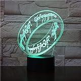 Lampada Da Illusione 3D Lampada Da Notte A Led Signore Degli Anelli Sensore Di Tocco Usb Novità Bambino Bambini Presente Cons