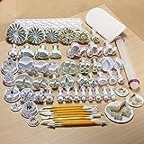 Desconocido Moldes para Decorar Pasteles o Galletas con Fondant Icing Plunger, Color Blanco, 20x 20x 3cm, 14 Sets, 46 Unidades