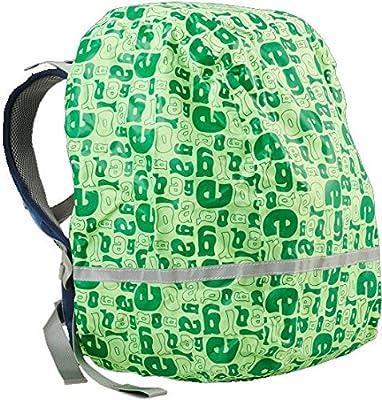 Ergobag Regencape für Schulrucksäcke, wasserdicht, Leuchtfarben, Reflektoren, Gummizug