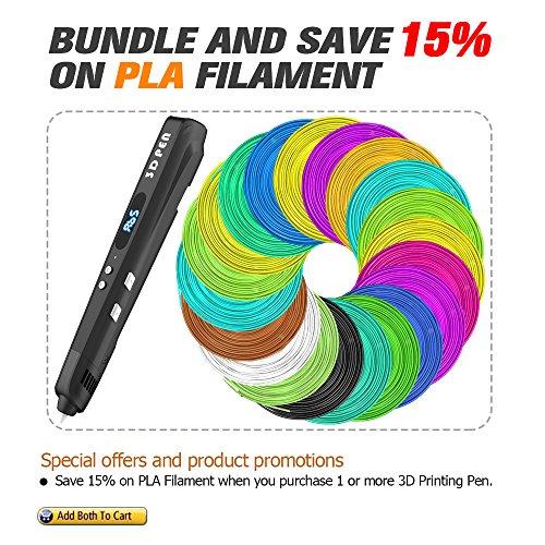 3D Stift, Tecboss 3D Drucker Stift für Kinder mit LED-Anzeige, USB-Netzteil und 3 Bonus 1,75 mm PLA Filament Refills-Schwarz - 6