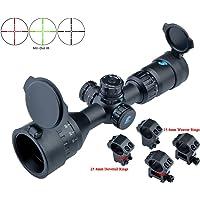 Eagle Eye Lunette De Vis/ée Rifle Scope 3-9x40 d/éclairage Rouge et Bleu 25.4mm Mil Dot Chasse Angled Riflescope Chasse Objectif avec 2 Types de Monts