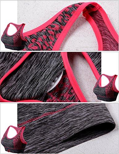 Match Soutien-gorge de Sport Racerback Rembourré sans Fil pour les Femmes pour la Séance de Yoga Gym Fitness #007 1 lot de 3(Noir-Bleu-Vert)