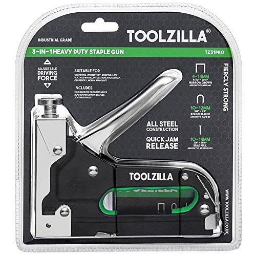 TOOLZILLA® Grapadora manual para trabajos pesados y paquete de selección de 600 grapas