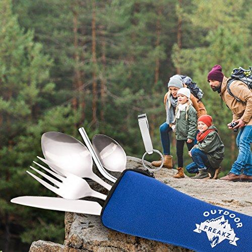 OUTDOOR FREAKZ Outdoor Reisebesteck und Campingbesteck aus Edelstahl mit Neoprenhülle (4er Set ++) - 4