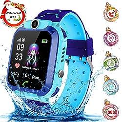 Montre Intelligente Smartwatch, Montre téléphone pour Enfants pour Fille Garçon LBS Tracker Jeux/SOS/Alarm,Compatible iOS Android (Bleu Violet)