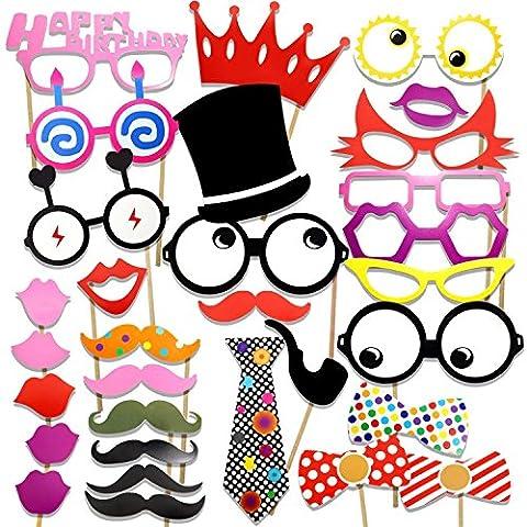 Veewon Accessoires Photobooth pour fête d'anniversaire Photos Moustache, Cadres Lunettes,